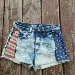 Mossimo High Rise Acid Wash American Flag Jean